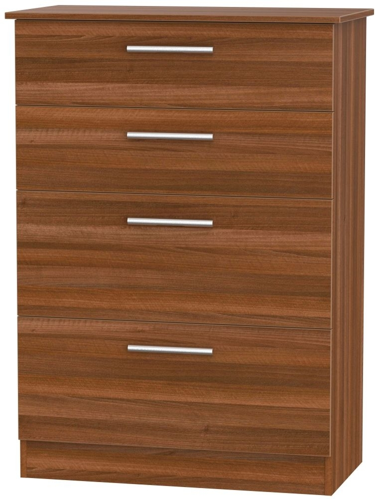 Clearance Contrast Noche Walnut Chest of Drawer - 4 Drawer Deep - 1079