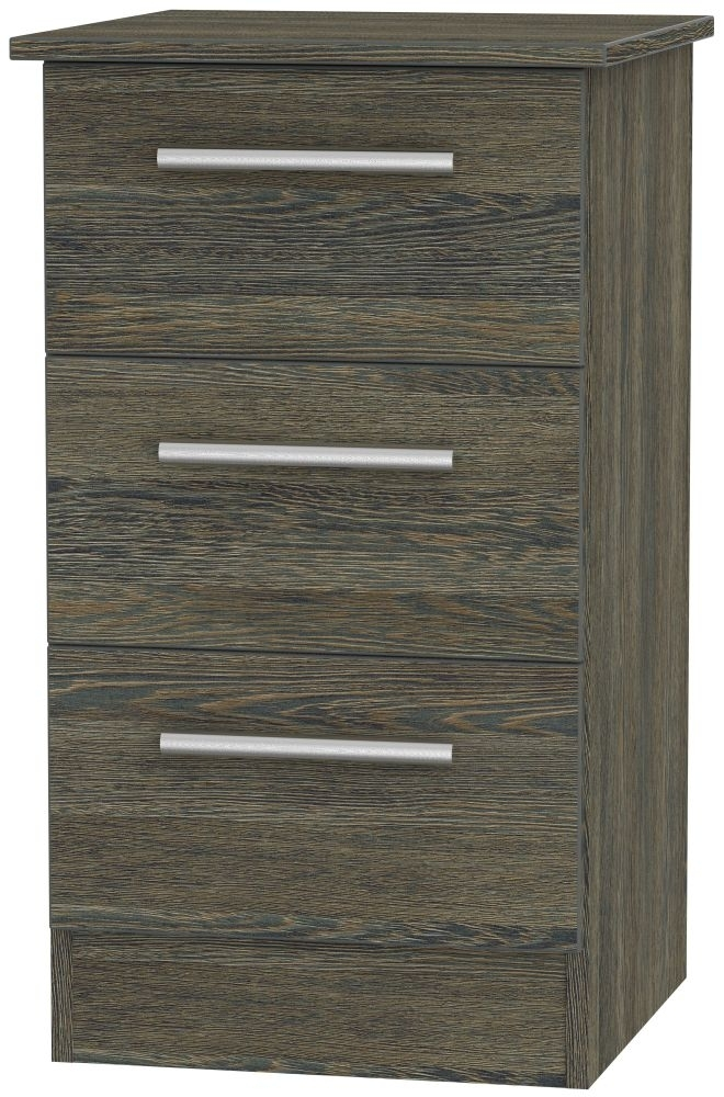 Clearance Contrast Panga Bedside Cabinet - 3 Drawer Locker - 1007