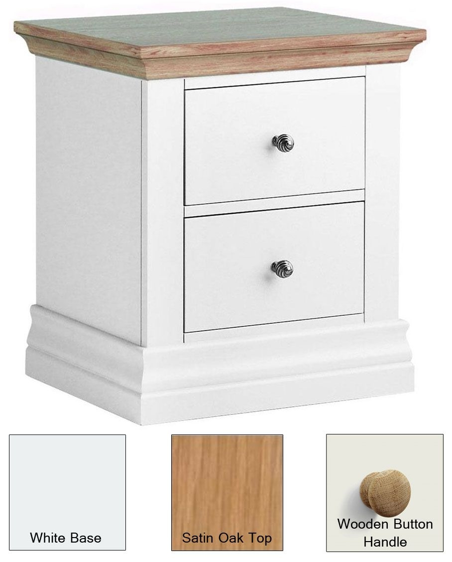 Corndell Annecy Painted 2 Drawer Bedside Cabinet with Satin Oak Top and Wooden Button Handle - CL-W19