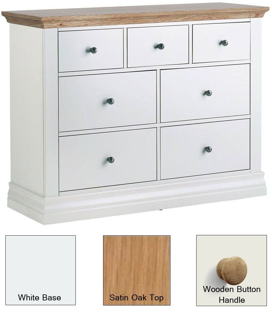 Clearance Corndell Annecy White Painted 3+4 Drawer Chest with Satin Oak Top and Wooden Button Handles - W17
