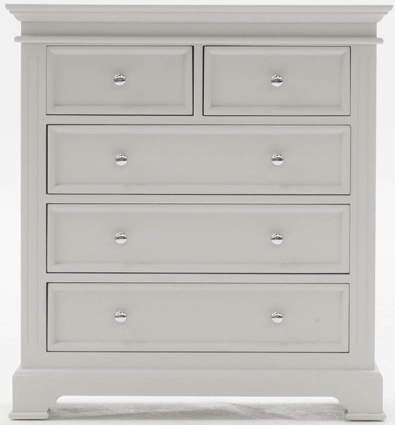 Clearance Deauville Dove Grey Chest of Drawer - 5 Drawer Tall - 2079