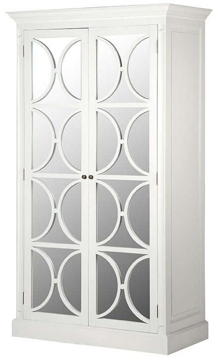 Clearance Fayence White Painted Mirrored Wardrobe - 2241