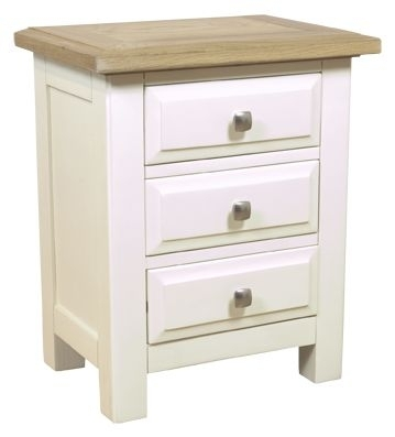 Clearance Furniture Link Rutland Off White Bedside Cabinet - 3 Drawers - A42