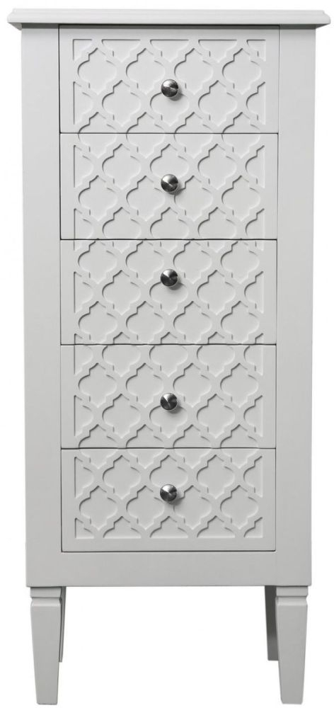 Clearance Half Price - California White 5 Drawer Tallboy - New - Z1079