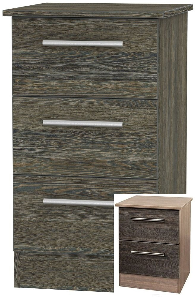 Product photograph showing Clearance Half Price - Contrast Panga 3 Drawer Locker Bedside Cabinet - New - 1007