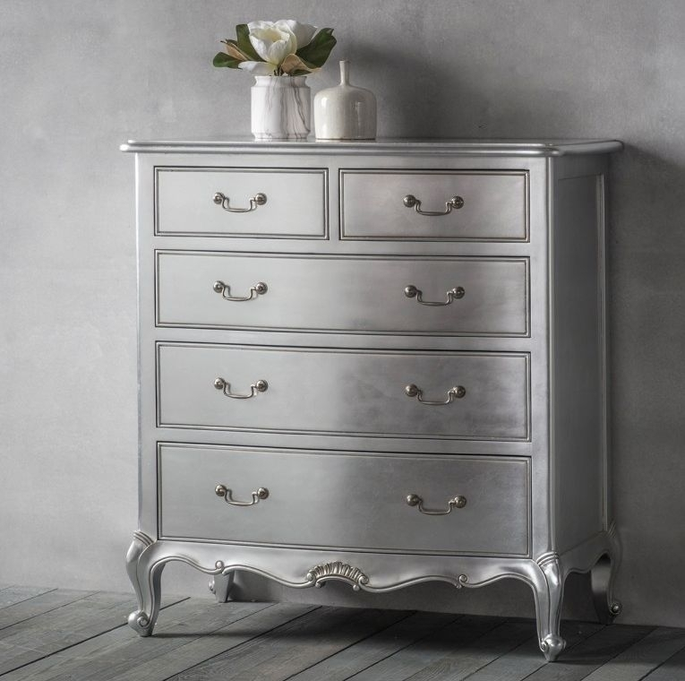 Clearance Half Price - Frank Hudson Chic 3+2 Drawer Chest - Silver - New - T120
