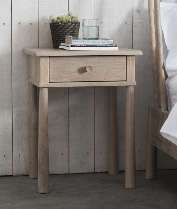 Clearance - Hudson Living Wycombe 1 Drawer Bedside Table - Oak - New - D181