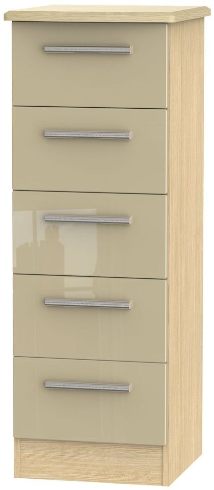 Clearance Half Price - Knightsbridge 5 Drawer Tall Chest - High Gloss Mushroom and Light Oak - New - D129