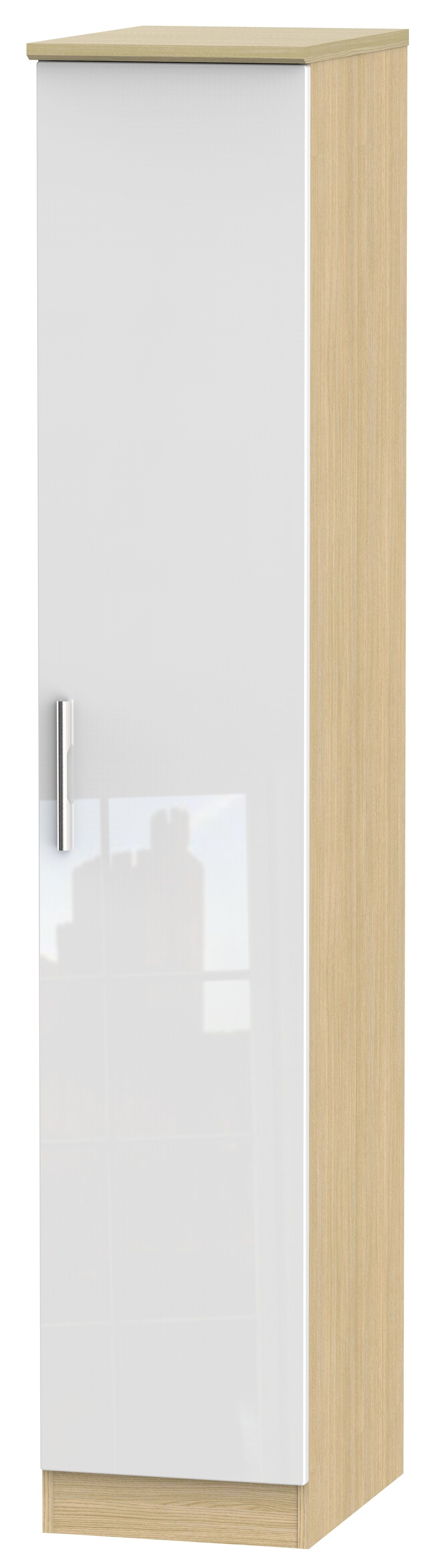 Clearance Half Price - Knightsbridge High Gloss White and Oak 1 Door Tall Single Wardrobe - New - 1054