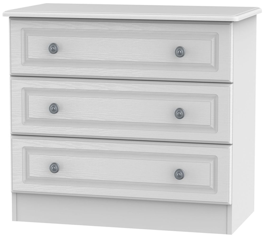 Clearance Half Price - Pembroke White 3 Drawer Chest - New - D117