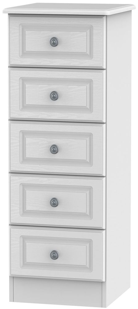 Clearance Half Price - Pembroke White 5 Drawer Tall Chest - New - D131