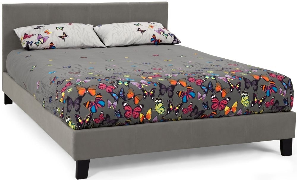 Clearance Half Price - Serene Evelyn Steel Fabric 3ft Single Bed - New - D210