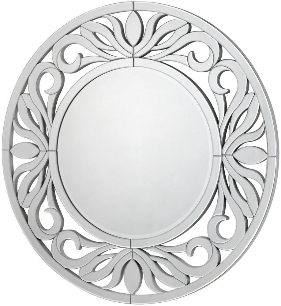 Clearance Half Price - Sicula Silver Trim Round Wall Mirror - 118cm x 2.5cm - New - Z1001