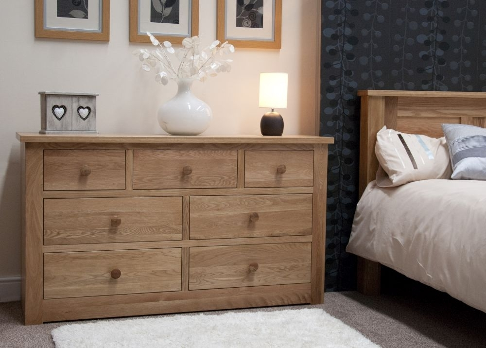 Clearance Homestyle GB Torino Oak Chest of Drawer - 7 Drawer - 2218