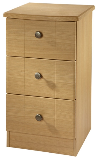 Clearance Kingston Light Oak Bedside Cabinet - 3 Drawer Locker - 1060