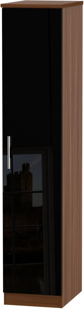 Knightsbridge High Gloss Black and Noche Walnut 1 Door Tall Single Wardrobe - CL-G411