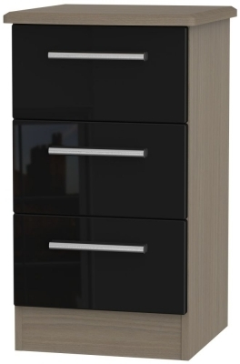 Clearance Knightsbridge High Gloss Black and Toronto Bedside Cabinet - 3 Drawer Locker - 1003
