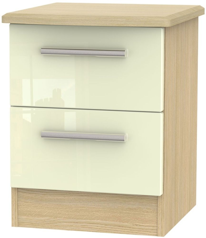 Clearance Knightsbridge High Gloss Cream and Light Oak Bedside Cabinet - 2 Drawer Locker - 2182