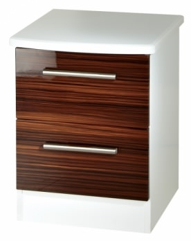 Clearance Knightsbridge High Gloss Ebony and  White Bedside Cabinet - 2 Drawer Locker - 1063