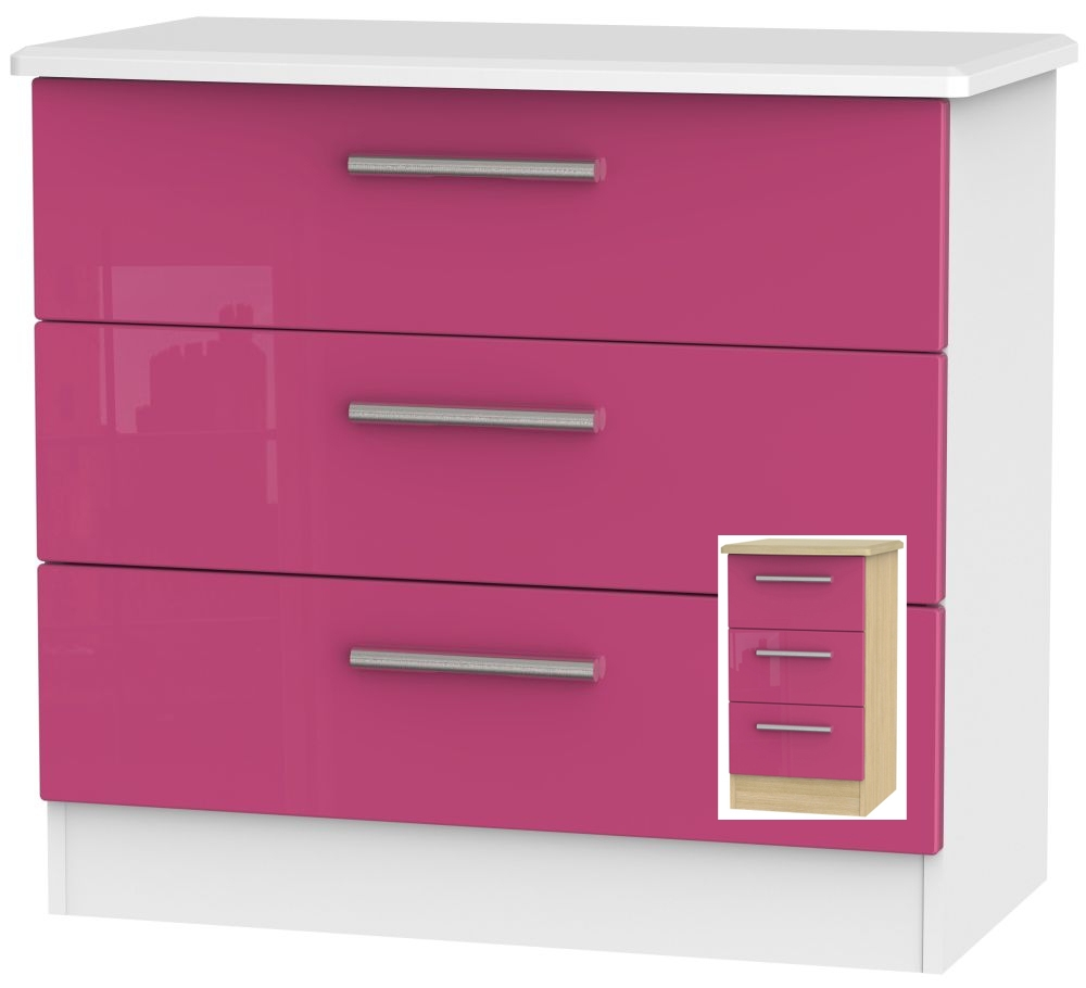 Clearance Knightsbridge High Gloss Pink and Light Oak Chest of Drawer - 3 Drawer - 1043