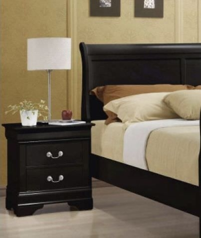 Clearance Louis Philippe Black Bedside Cabinet - 2 Drawers - C69