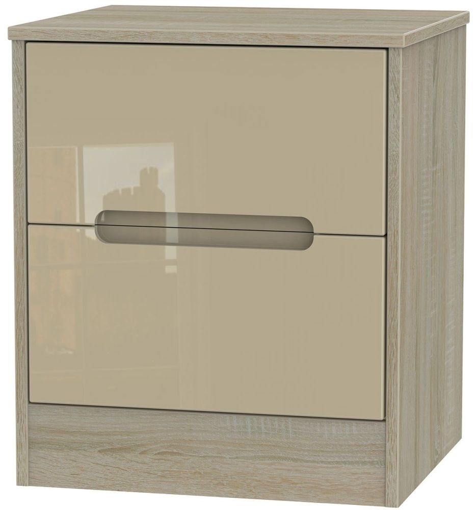 Clearance Monaco High Gloss Mushroom and Darkolino Bedside Cabinet - 2 Drawer Locker - 1030