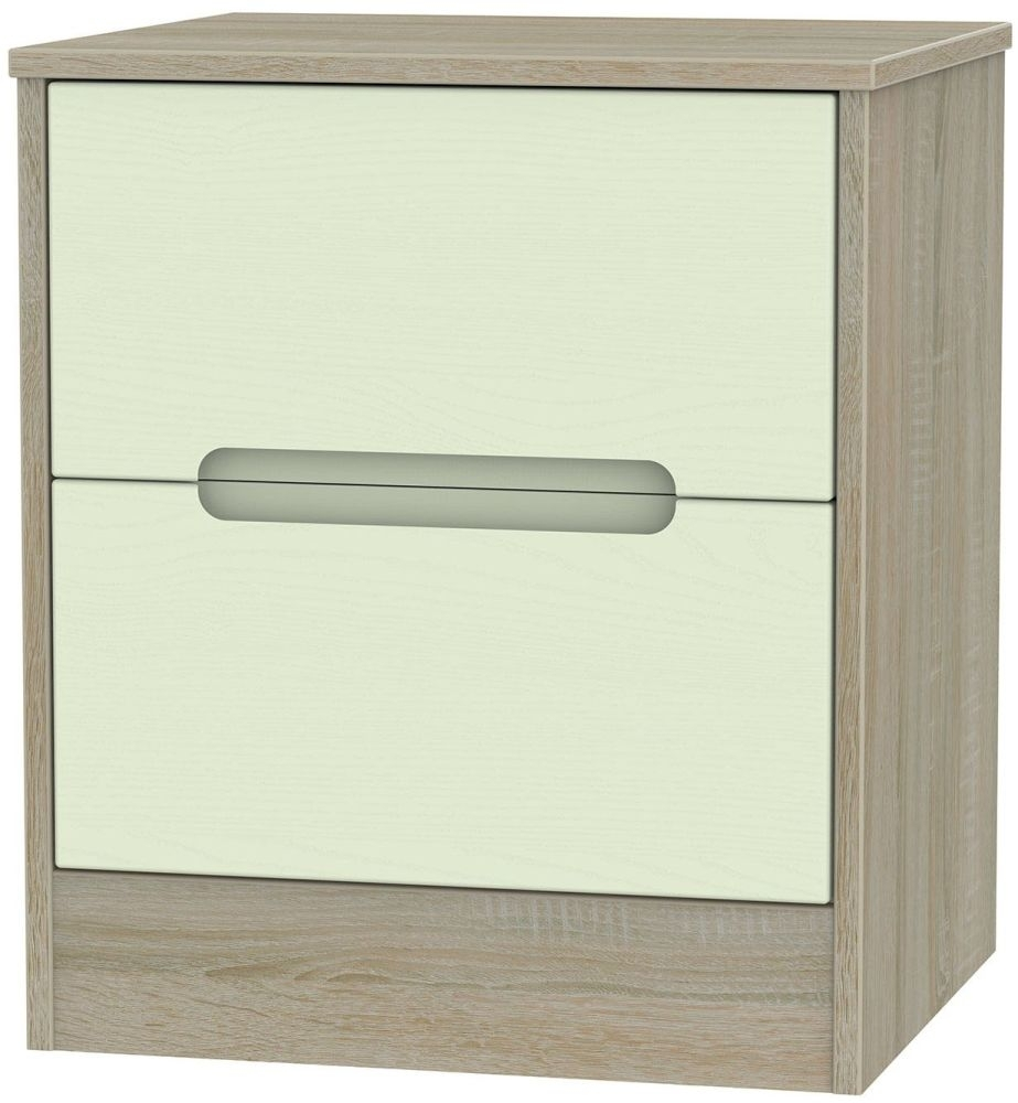 Clearance Half Price - Monaco Mussel and Darkolino 2 Drawer Locker Bedside Cabinet - New - 1041
