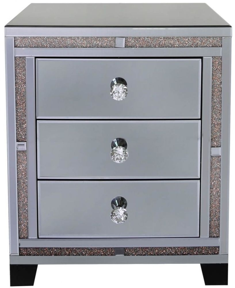 Clearance Naro Smoked Copper 3 Drawer Mirrored Bedside Cabinet - W88
