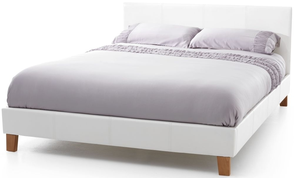 Clearance Serene Tivoli White Faux Leather 5ft King Size Bed - W1