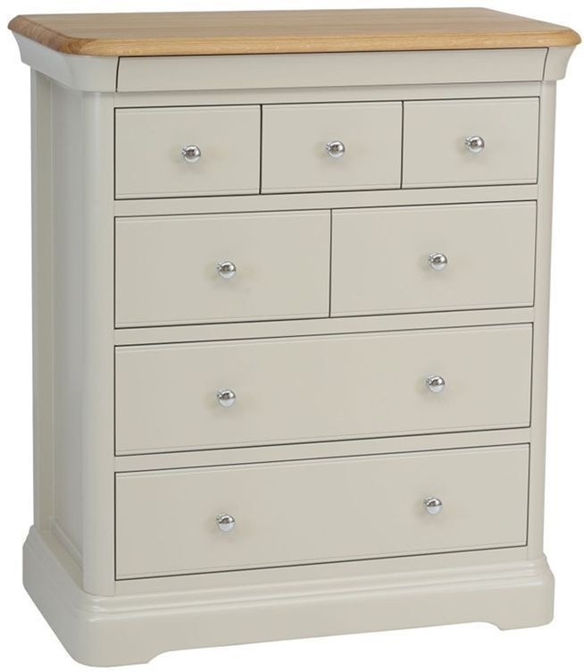 Clearance TCH Cromwell Oyster White Chest of Drawer - 7 Drawer with Lacquer Top and 1H20 Handle - 2179