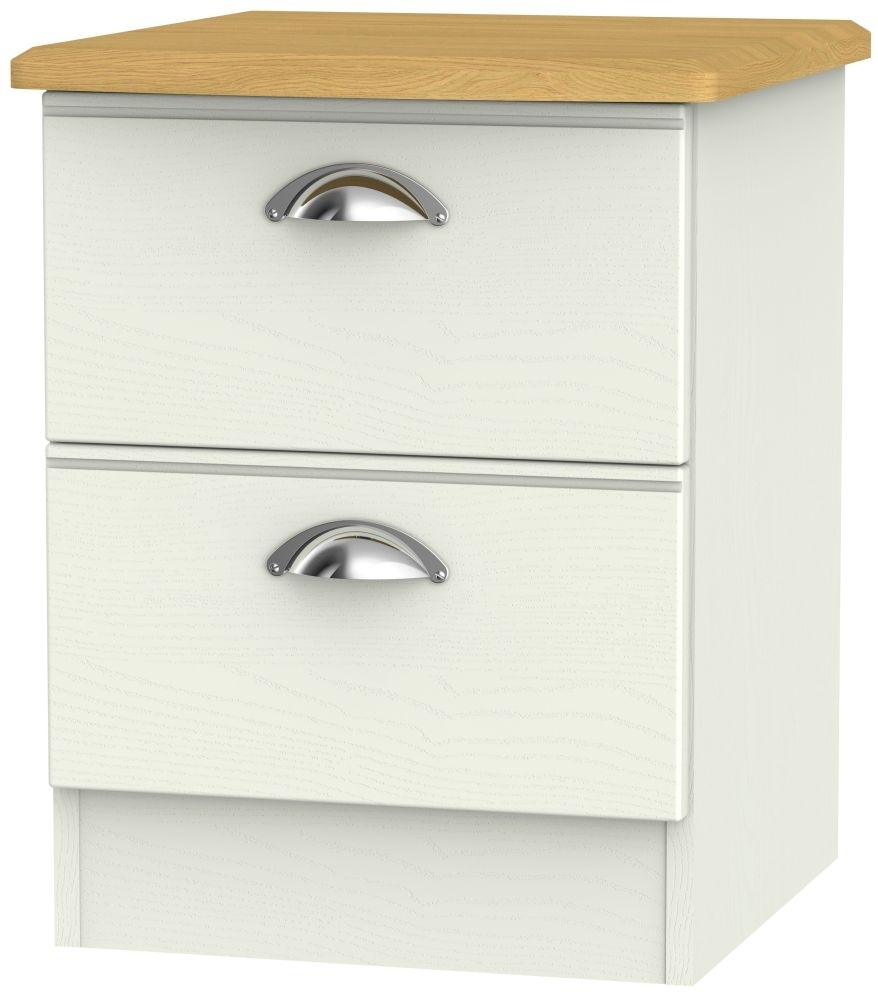 Clearance Victoria Cream Ash and Riviera Oak Bedside Cabinet - 2 Drawer Locker - 1088