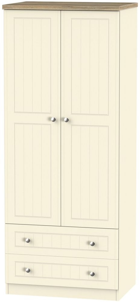 Clearance Vienna Cream Ash and Bordeaux Oak Wardrobe - 2ft 6in with 2 Drawer - 1051
