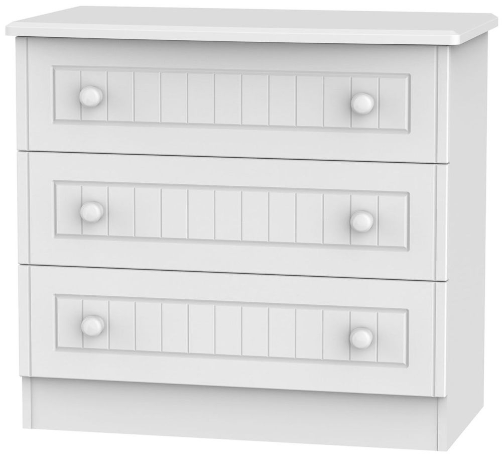 Clearance Warwick White Chest of Drawer - 3 Drawer - 1069