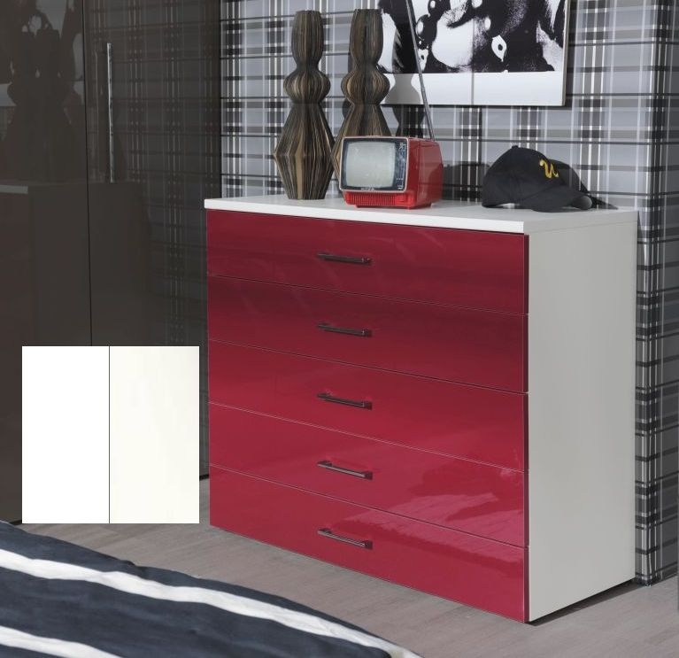 Clearance Welle Mobel 5 Plus Alpine White with White High Gloss 5 Chest of Drawer - 2178