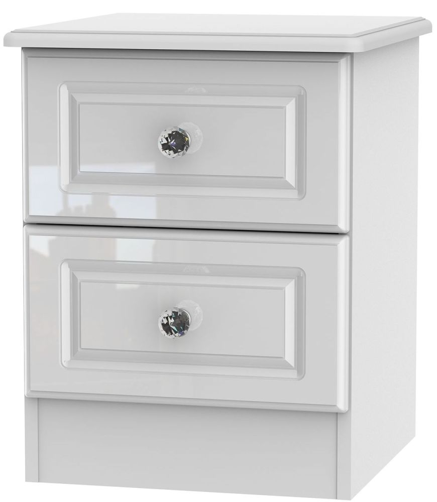 Clearance Balmoral High Gloss White 2 Drawer Locker Bedside Cabinet - W73