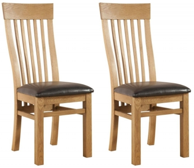 Clearance - Devonshire Avon Oak Curved Back Dining Chair (Pair) - New - E-252