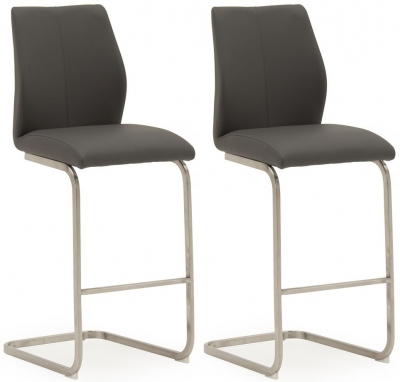 Clearance - Vida Living Irma Grey Faux Leather Barstool (Pair) - New - E-289