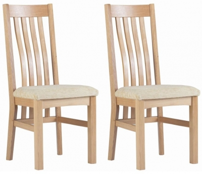 Clearance - Corndell Nimbus Satin Oak Slatted Dining Chair (Pair) - New - FS680