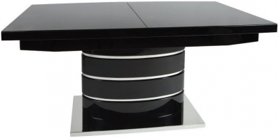 Clearance - Greenapple Rimini Extending Dining Table - Glass and Black High Gloss - New - FS557