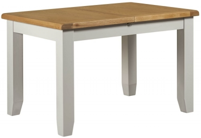 Clearance - Lundy Oak and Grey Painted 120cm-150cm Extending Dining Table - New - FS996