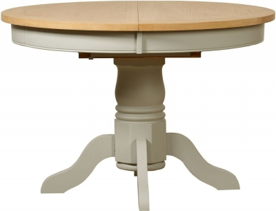 Clearance - Mark Webster Bordeaux Round Extending Dining Table - Oak and Grey - New - FS446