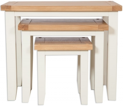 Clearance - Perth Nest Of Tables - Oak and Ivory Painted - New - FS424