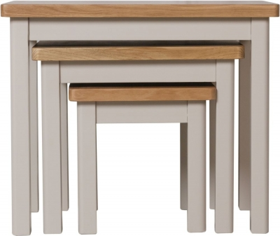 Clearance - Portland Oak and Dove Grey Painted Nest of 3 Tables - New - FS546