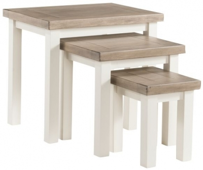 Clearance - Santorini Stone Painted Nest of Tables - New - FS884