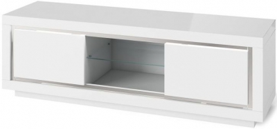 Clearance - Sardinia White High Gloss TV Unit with LED - New - FS595
