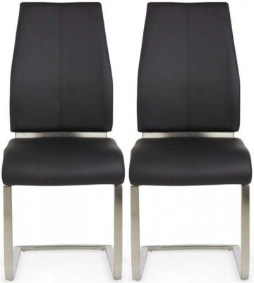 Clearance - Serene Alicante Black Faux Leather Dining Chair (Pair) - New - FS514