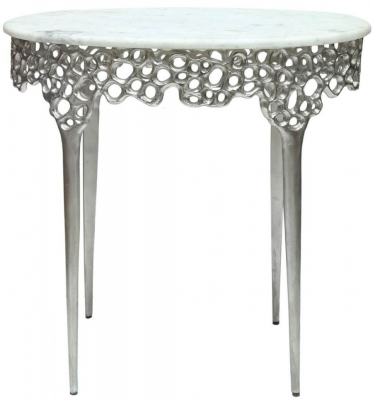 Clearance - Somerset Marble Effect End Table - New - FS538