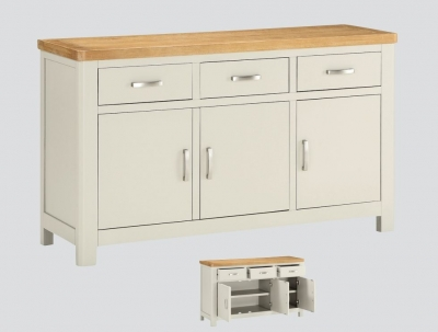 Clearance - Andorra Painted Large Sideboard - Oak and Stone Painted - New - FS668