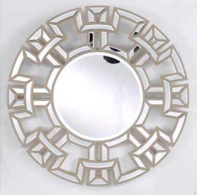 Clearance - Champagne Round Wall Mirror - 90cm x 90cm - New - E-42