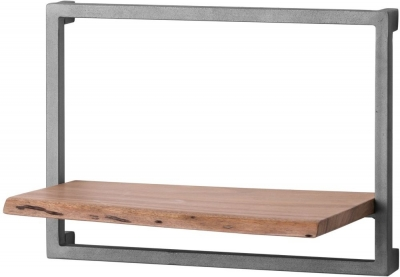 Clearance - Hill Interiors Live Edge Medium Wall Shelf - Acacia Wood and Metal - New - FS569